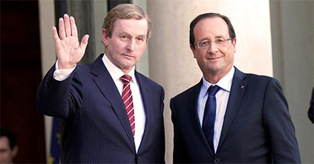 French President Francois Hollande welcomes Taoiseach Enda Kenny to the Elysee Palace