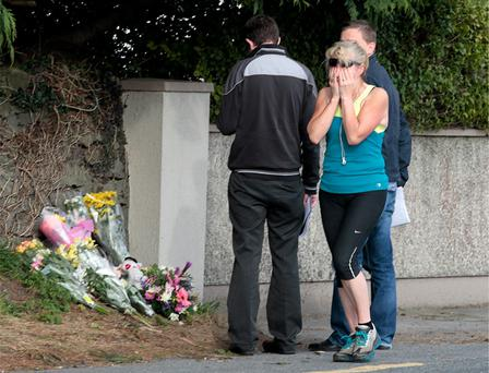 The scene where Two year old Kate Gilmore and her sister Grace [(3 months) were struck and killed by a car at the Milltown Road on the outskirts of Tuam last Sunday. Photo: Frank McGrath