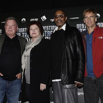 Four of the five Star Trek captains at Destination Star Trek at the ExCel Centre in London