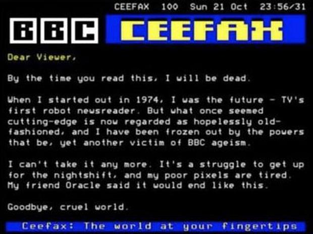 The mock Ceefax page being circulated online.