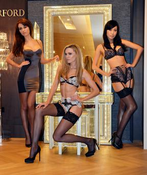 Models Daniella Moyles, Sarah Morrissey, and Yomiko Chen give 'Lessons in Lingerie' at Brown Thomas including new brand Scandale, Dublin, Ireland - 23.10.12. Pictures: VIPIRELAND.COM *** Local Caption *** Daniella Moyles, Sarah Morrissey, Yomiko Chen