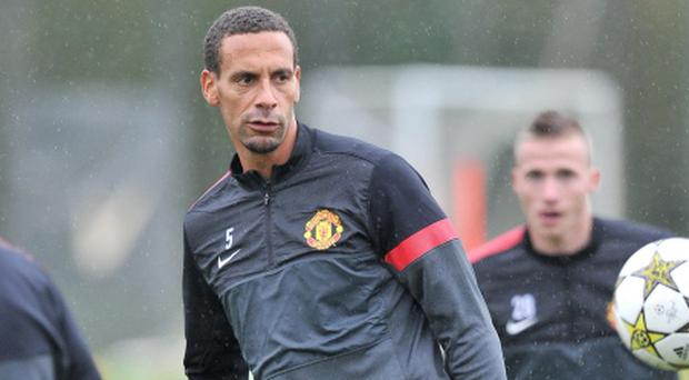 Manchester United's Rio Ferdinand during a Training Session at Carrington Training Ground, Manchester. PRESS ASSOCIATION Photo. Picture date: Monday October 22, 2012. See PA story SOCCER Man Utd. Photo credit should read: Martin Rickett/PA Wire.