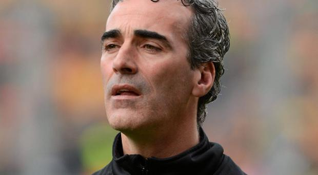 23 September 2012; Jim McGuinness, Donegal manager, during the game. GAA Football All-Ireland Senior Championship Final, Donegal v Mayo, Croke Park, Dublin. Picture credit: Oliver McVeigh / SPORTSFILE