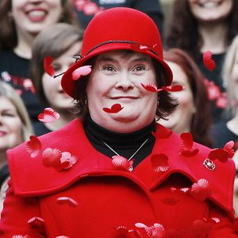 Susan Boyle wore red to launch Scotland's Poppy Appeal
