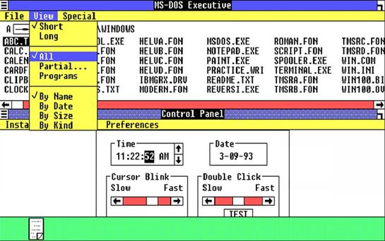 <b>Windows 1</b><br/> The first Windows version had a colour 16-bit interface and was less than 1MB in size. <br/> Many of the basic programs we still have in today's systems were present in Windows 1.01. Paint was there, so was Notepad, Clipboard, and 'Write' a word processor similar to the modern 'Wordpad'. There was also a clock, calendar, control panel and a game called Reversi. <br/> New versions of Windows 1.01 sprang up every year but the original interface continued to be supported by Microsoft for 16 years, until its withdrawal on December 31, 2001