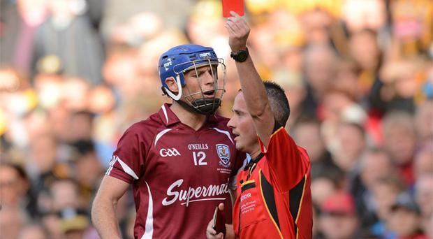 Galway's Cyril Donnellan is shown a straight red card by referee James McGrath during the All-Ireland SHC final replay – one of just two straight reds shown during this year's hurling championship