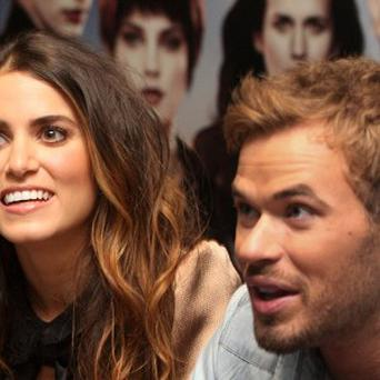 Nikki Reed and Kellan Lutz meet fans at an event for the film Twilight Saga: Breaking Dawn Part II in Glasgow