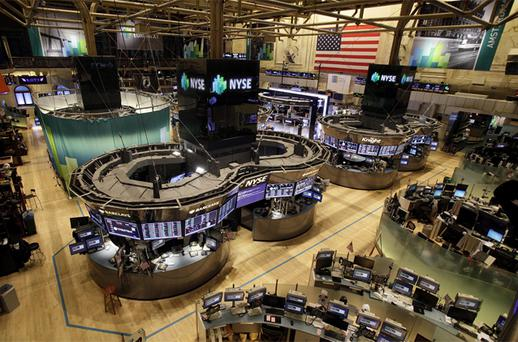 The floor of the New York Stock Exchange is empty of traders as Hurricane Sandy approaches the city