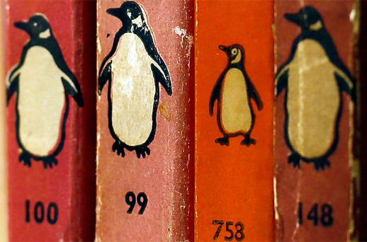 Penguin books are seen in a used bookshop in central London. Photo: Reuters
