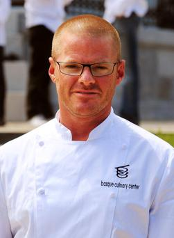 British cook Heston Blumenthal takes part in the presentation of the Basque Culinary Center, on July 26, 2010, in northern Spanish Basque city of San Sebastian. AFP PHOTO/RAFA RIVAS (Photo credit should read RAFA RIVAS/AFP/Getty Images)
