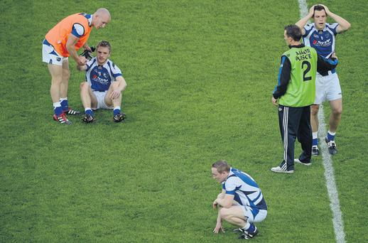 Laois players – who used the Squadplus system this year – show their disappointment after losing to Dublin