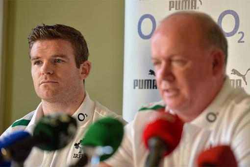 Gordon D'Arcy with head coach Declan Kidney. Photo: Sportsfile