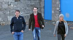 03/11/12 Sean Quinn Jnr. and his wife, Karen and brother in law Niall McPartland pictured leaving Mountjoy Prison Training Unit this evening after visiting Sean Quinn Snr.. Picture Colin Keegan, Collins, Dublin.