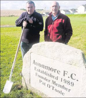 Michael Farrell and Jim Scott pictured at the Avonmore FC grounds.