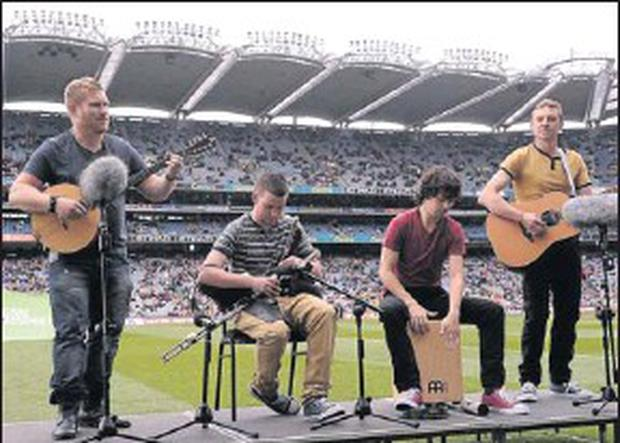 The Buachaills entertaining the crowd at half time during the minor final at Croke Park.