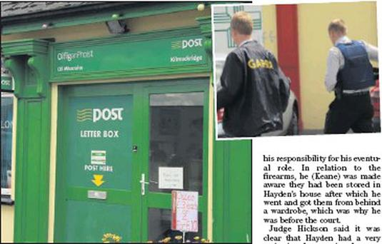 Kilmuckridge Post Office, and (inset) Gardai at the scene on the day of the robbery.