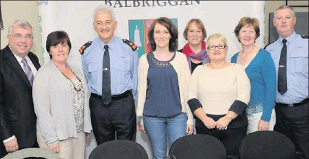 Town Clerk Brian Murray, Cllr. Grainne Maguire, Superintendent Noel Carolan, Louise Butler from the Policing Forum, Zoe Nelson, Louise Edmonds of Fingal County Council, Margaret O'Brien and Inspector Declan Yeats at the meeting in the town hall.