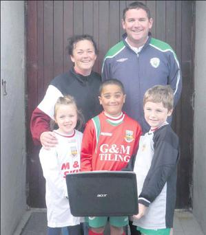 Pictured at the launch of www.balbrigganfc.ie were committee members Annette Jules and Frank Forde together with players Taylor Greene, Maitiú Jules and Matthew Forde.