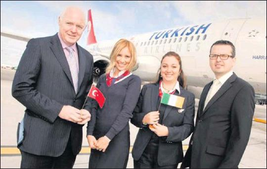 Cormac O'Connell, Head of Aviation Business Development, DAA with Nancy Derby, Operation Supervisor, Turkish Airlines; Arzu Jimenez, Station Manager, Turkish Airlines and Murat Balandi, Turkish Airlines General Manager Ireland, at the announcement of a...
