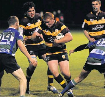 Skerries' Chris Tonge drives at the Suttonians cover during Friday nigfht's AIL Division 2B match at Holmpatrick.