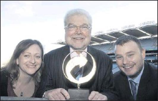 Dr. Andrew Hetherington Chief Exeutive Repak with Jacqui Palmer and Denis Gleeson from Arvato Hightech EMEA at the REPAK Conference and Awards at Croke Park.