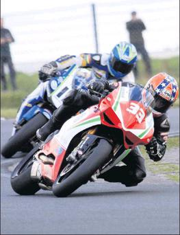 Lee Johnston leads Brian McCormack at the Adelaide Masters at Mondello on the Millsport Ducati that he will race for the team next season. Picture: Jack Corry