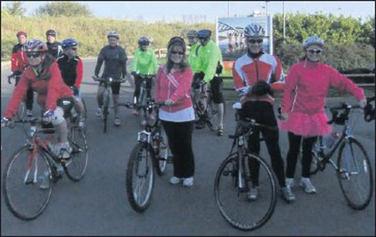 Some of the 37 'BMS Wheelers' getting ready to set off on the fourth annual 50k cycle for charity.
