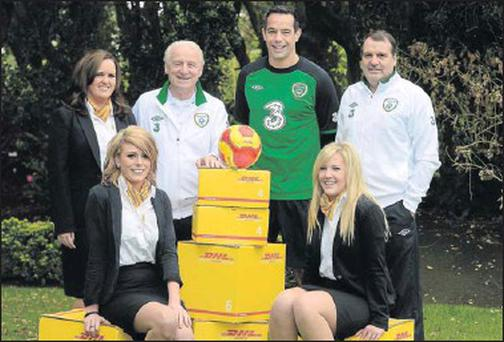 In attendance at a DHL/FAI sponsorship announcement are Republic of Ireland manager Giovanni Trapattoni, assistant manager Marco Tardelli and David Forde with Louise Fox, back left, Jennifer Marie Kirwan, front left, and Denise Sutton, DHL Expresss at...