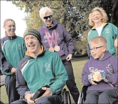 Heather Jameson, from Garristown, double Paralympic gold medallist, Mark Rohan, silver and bronze medalist Catherine Walsh, from Swords, and Anne Marie McDaid, from Ramelton, Co. Donegal, with aspiring Paralympian Shane Barker, age 9, from Donabate at...