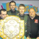 Rodney Goggins, right, with his Irish team-mates after they won the Home International Snooker Championship.