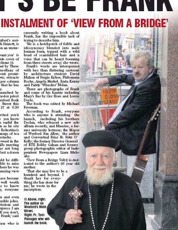 Above, right: The author on Wexford's Main Street. Right: Fr. Tom Flanagan who will launch the book.