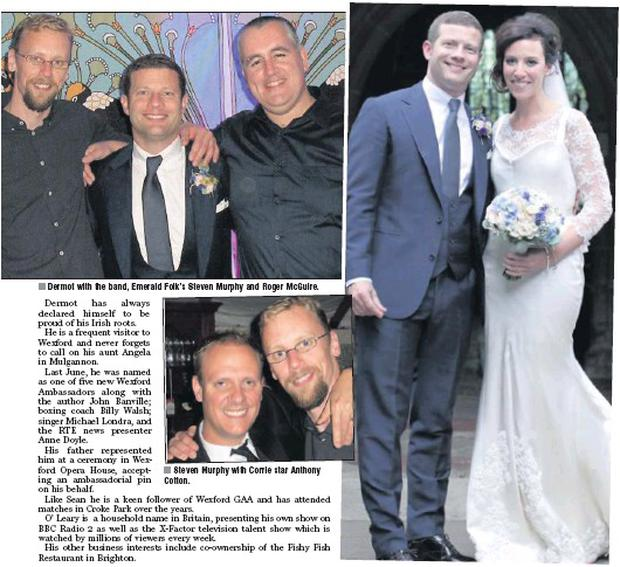 Dermot with the band, Emerald Folk's Steven Murphy and Roger McGuire. Steven Murphy with Corrie star Anthony Cotton. BELOW: The happy couple, Dermot O'Leary and Dee Koppang.