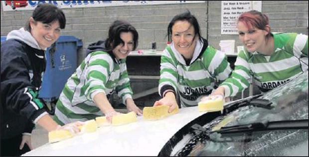 At the car wash, Tara Kehoe, Lisa Jordan, Karen Hendrick and Kirsty O'Callaghan.