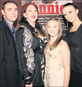 At the launch of the Oyster Lane production of Annie in The Dun Mhuire Theatre were the main characters Neill O'Leary, Adrianne Meyler, Emma Morris and Aisling Reardon.