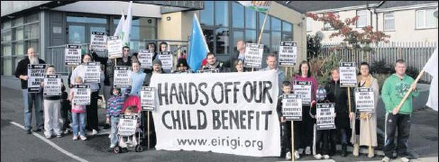 The Eirigi-organised demonstration at Ministers Brendan Howlin's clinic in the SIPTU offices, Coolcotts.