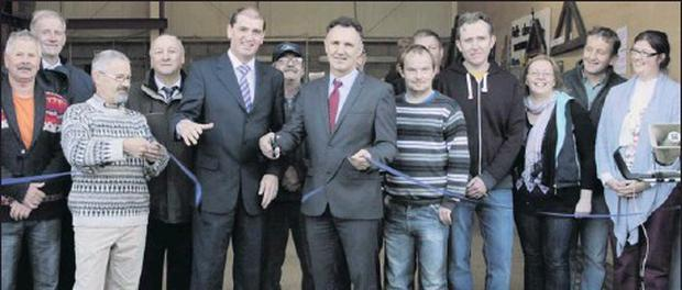 Billy Walsh and Minister Paul Kehoe perform the offical opening of the Men's Shed in Taghmon.