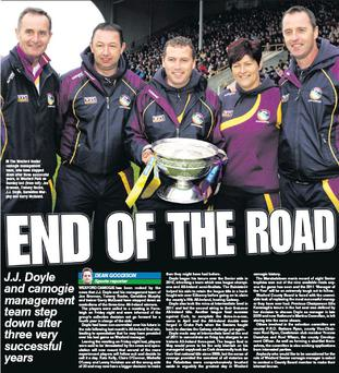 The Wexford Senior camogie management team, who have stepped down after three successful years, in Wexford Park on Sunday last (from left): Joe Brennan, Tommy Roche, J.J. Doyle, Geraldine Murphy and Gerry McQuaid.
