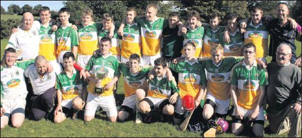 Rovers celebrate their Minor hurling championship success.