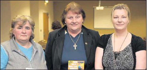 Cllr. Pat Kavanagh, Mary Stephenson, from SIPTU and Paula Campbell who chaired the meeting.