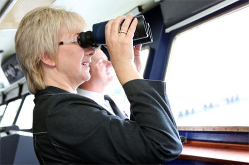 Tourism, Culture and Sport Minister Mary Hanafin enjoying the sights of Cork Harbour during a tour of the passenger ferry MV Julia in Ringaskiddy, Co Cork, yesterday