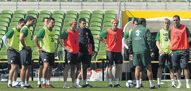 Ireland assistant boss Marco Tardelli leads yesterday's Ireland training session in the absence of Giovanni Trapattoni.