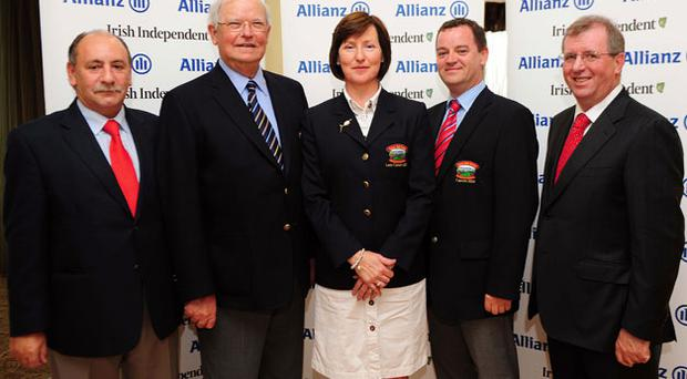 1st place: Bearna GC. From left, Eugene Barnwell, Allianz, Bearna members Dan O'Neill, Barbara O'Keeffe and John Murphy and Liam Kelly, Irish Independent. Photo: James Flynn