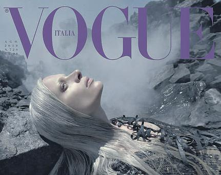 The cover of the August issue of 'Vogue Italia' featuring model Kristen McMenam.