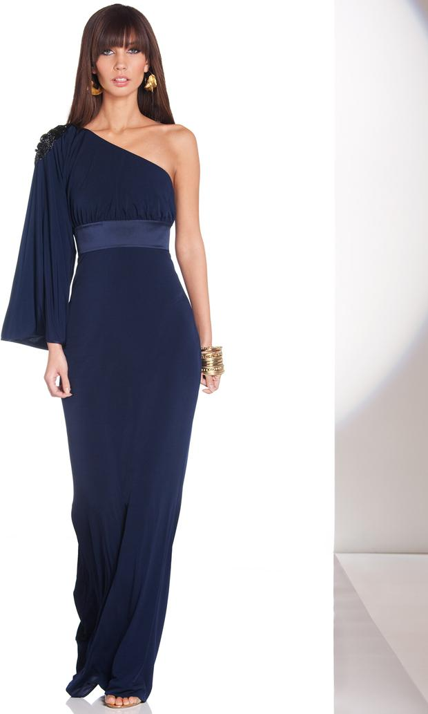 A one-shouldered full length Project D dress