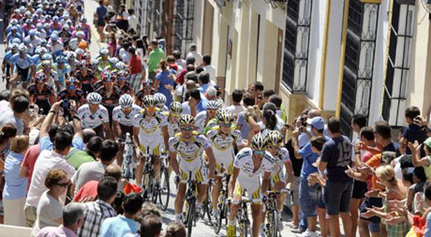 The peloton makes its way through the packed streets of Seville during yesterday's third stage of the Tour of Spain. Photo: Reuters