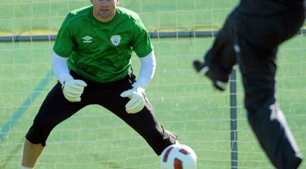 Ireland goalkeeper Shay Given is put through his paces at Gannon Park yesterday. Photo: David Maher / Sportsfile