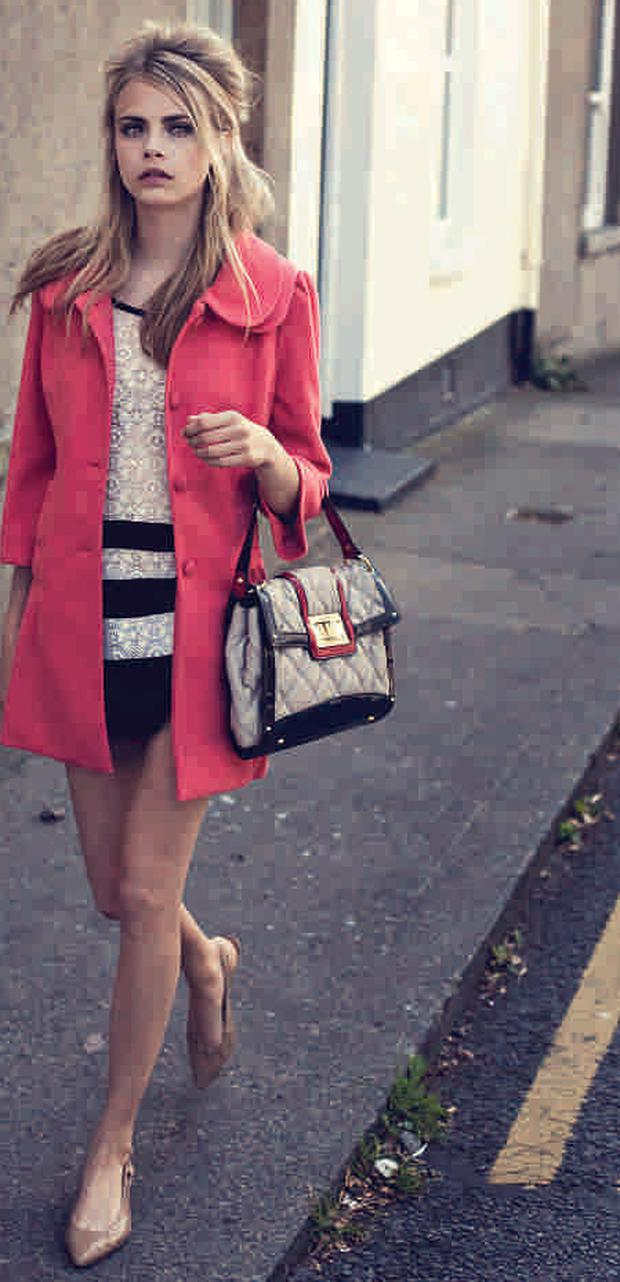 Coat, €50; lace tunic, €40; quilted bag, €30. Shoes, stylist's own