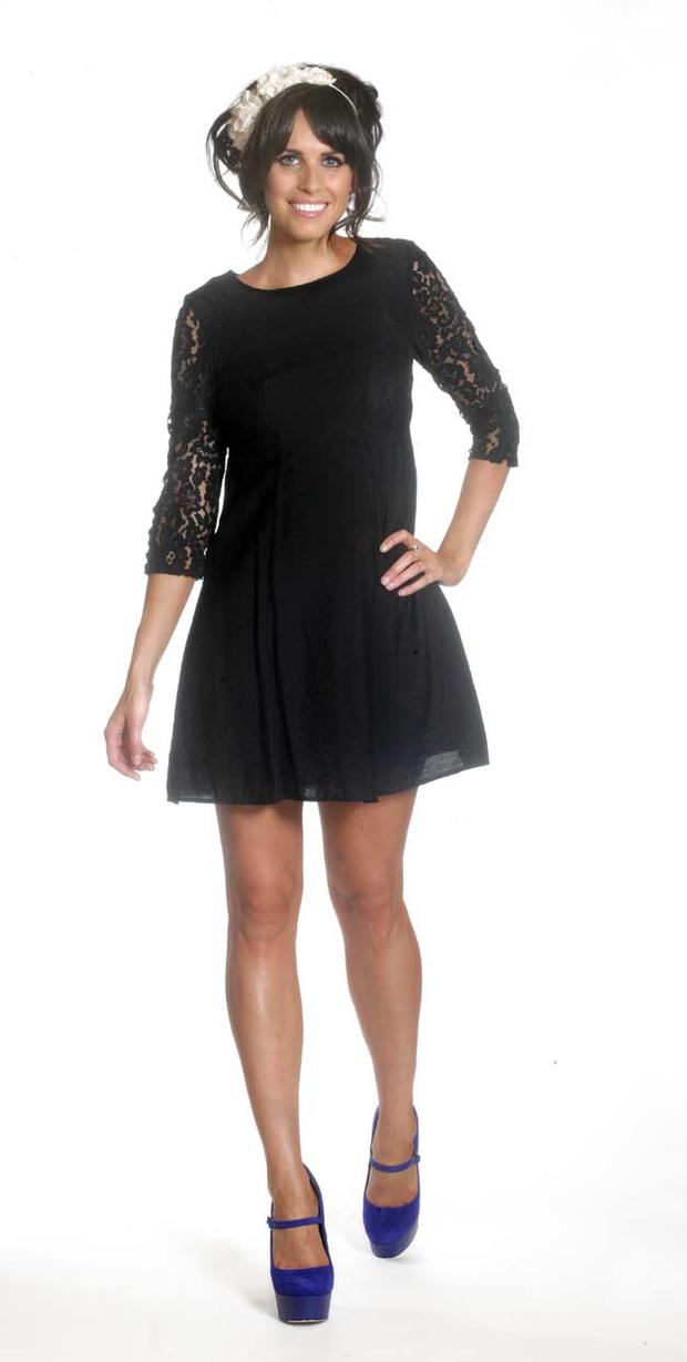 LOOK 1: Black dress with lace arms, €72, Warehouse; cream lace hairband, €18, Topshop; blue shoes, €160, Carvela at BT2