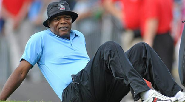 Samuel L Jackson relaxes during a break in play at the JP McManus Invitational Pro-Am in 2010