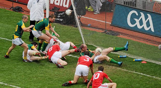 Meath's Joe Sheridan sits on the goal line before bundling the ball into the net for the Royal county's controversial winning goal in yesterday's Leinster SFC final. Photo: David Maher / Sportsfile